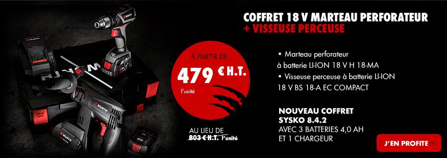 COFFRET 18 V MARTEAU PERFORATEUR + VISSEUSE PERCEUSE
