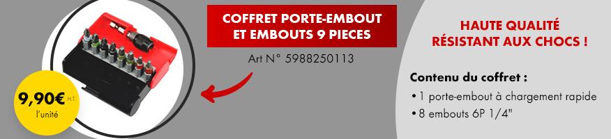 Offre chrono : coffret porte-embout et embouts 9 pieces